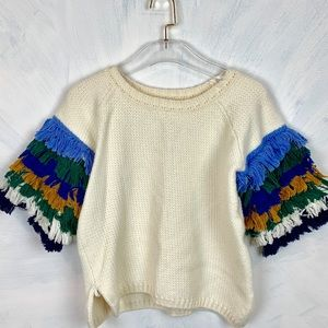 Sweaters - Layered Fringed Sleeve Sweater incredible Quality